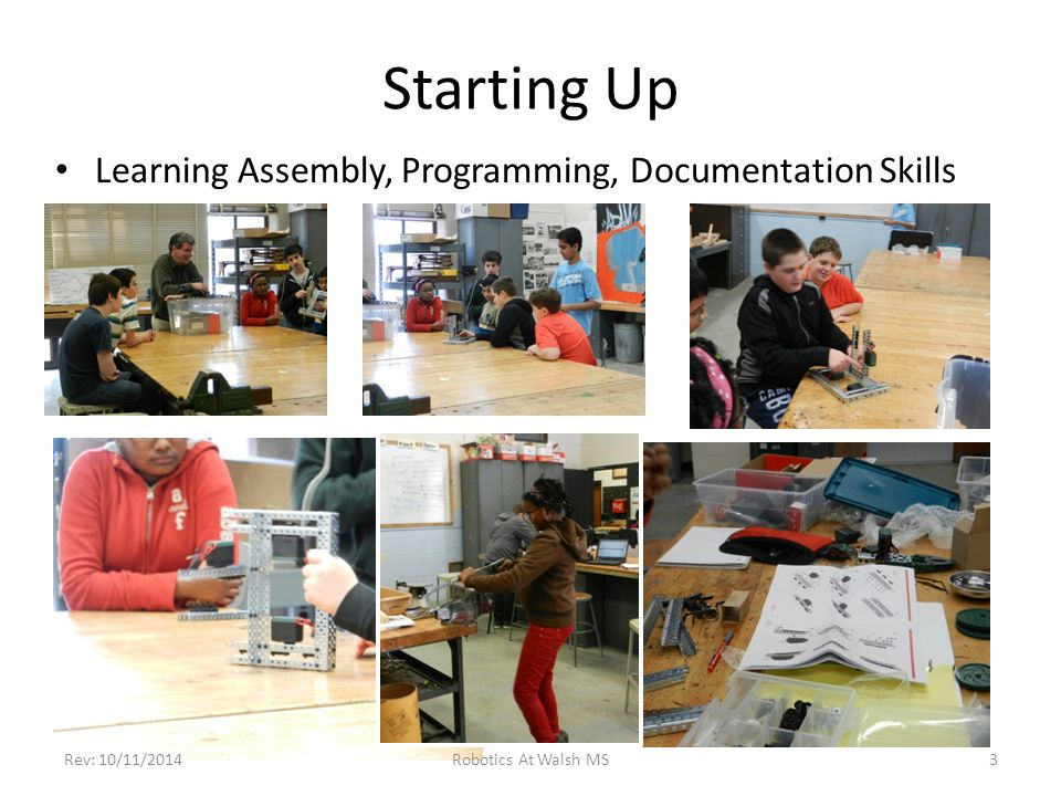 Starting Up Learning Assembly, Programming, Documentation Skills Robotics At Walsh MSRev: 10/11/20143