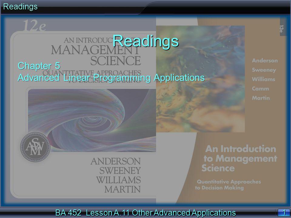 BA 452 Lesson A.11 Other Advanced Applications 22 n Define the first 8 demand constraints, one for each ODIF: (5) IMD < 44 (6) IAD < 25 (7) ITD < 40 (8) IMF < 15 (5) IMD < 44 (6) IAD < 25 (7) ITD < 40 (8) IMF < 15 (9) IAF < 10 (10) ITF < 8 (11) BMD < 26 (12) BAD < 50 Revenue Management