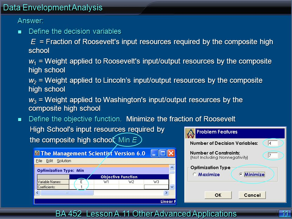 BA 452 Lesson A.11 Other Advanced Applications 11 Answer: n Define the decision variables E = Fraction of Roosevelt s input resources required by the composite high school E = Fraction of Roosevelt s input resources required by the composite high school w 1 = Weight applied to Roosevelt s input/output resources by the composite high school w 2 = Weight applied to Lincoln's input/output resources by the composite high school w 3 = Weight applied to Washington s input/output resources by the composite high school n Define the objective function.