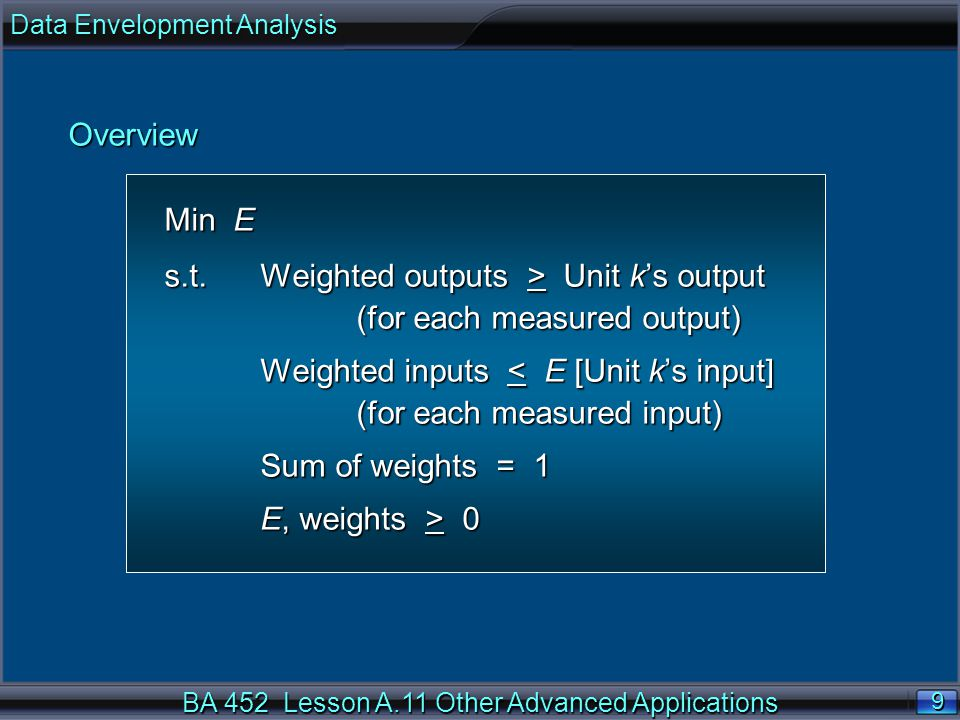 BA 452 Lesson A.11 Other Advanced Applications 20 n Define the objective function.