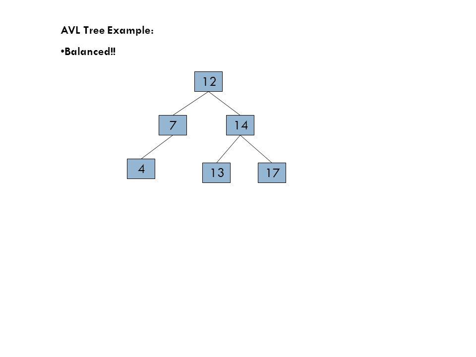 AVL Tree Example: Balanced!! 14 17 4 7 12 13