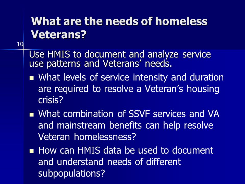 What are the needs of homeless Veterans.
