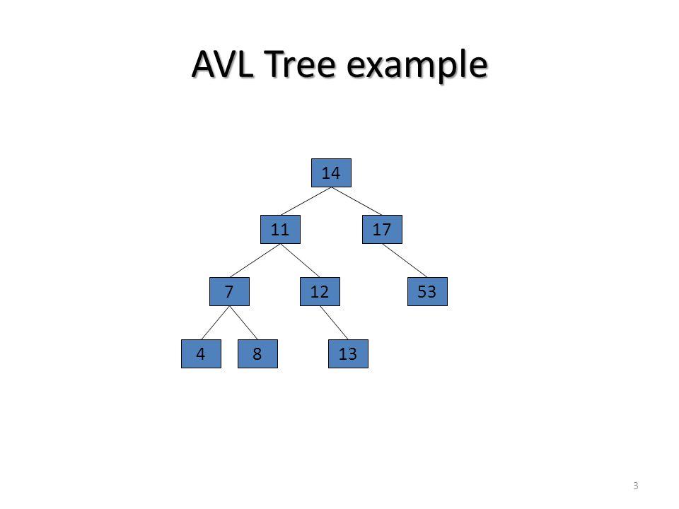 AVL Tree example 3 14 17 7 4 53 11 12 813