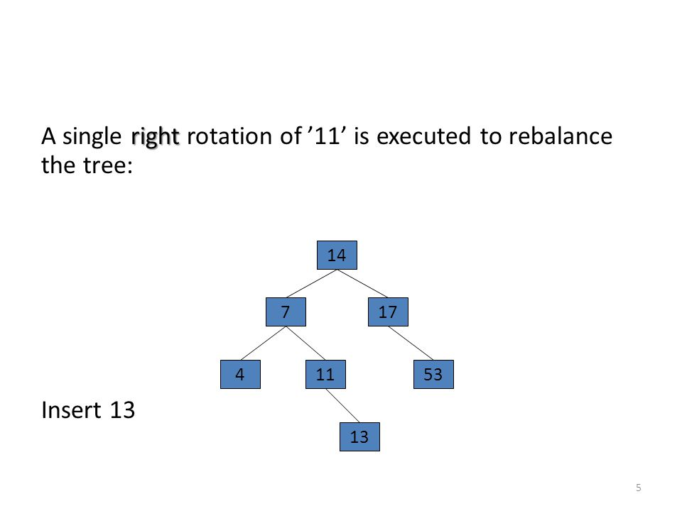 right A single right rotation of '11' is executed to rebalance the tree: Insert 13 5 14 177 45311 13
