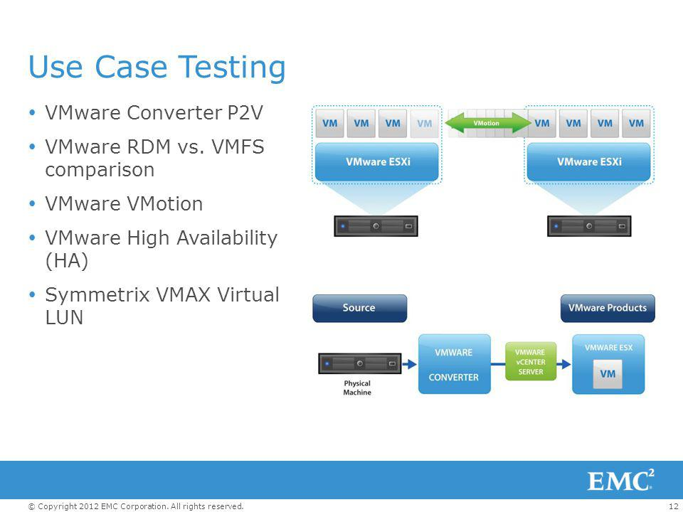 12© Copyright 2012 EMC Corporation. All rights reserved. Use Case Testing  VMware Converter P2V  VMware RDM vs. VMFS comparison  VMware VMotion  V