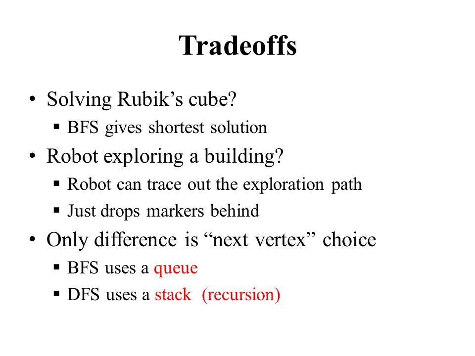 Tradeoffs Solving Rubik's cube.  BFS gives shortest solution Robot exploring a building.