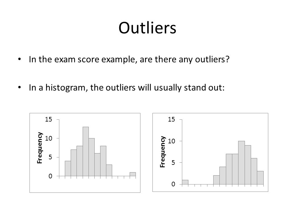 Outliers In the exam score example, are there any outliers.