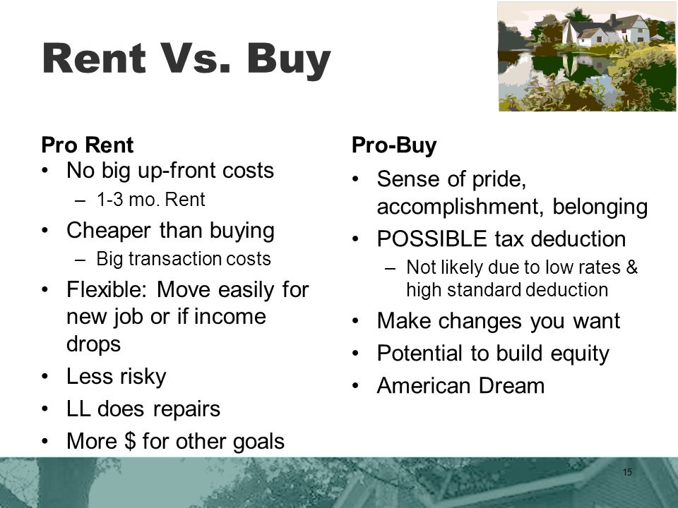Rent Vs. Buy Pro Rent No big up-front costs –1-3 mo.