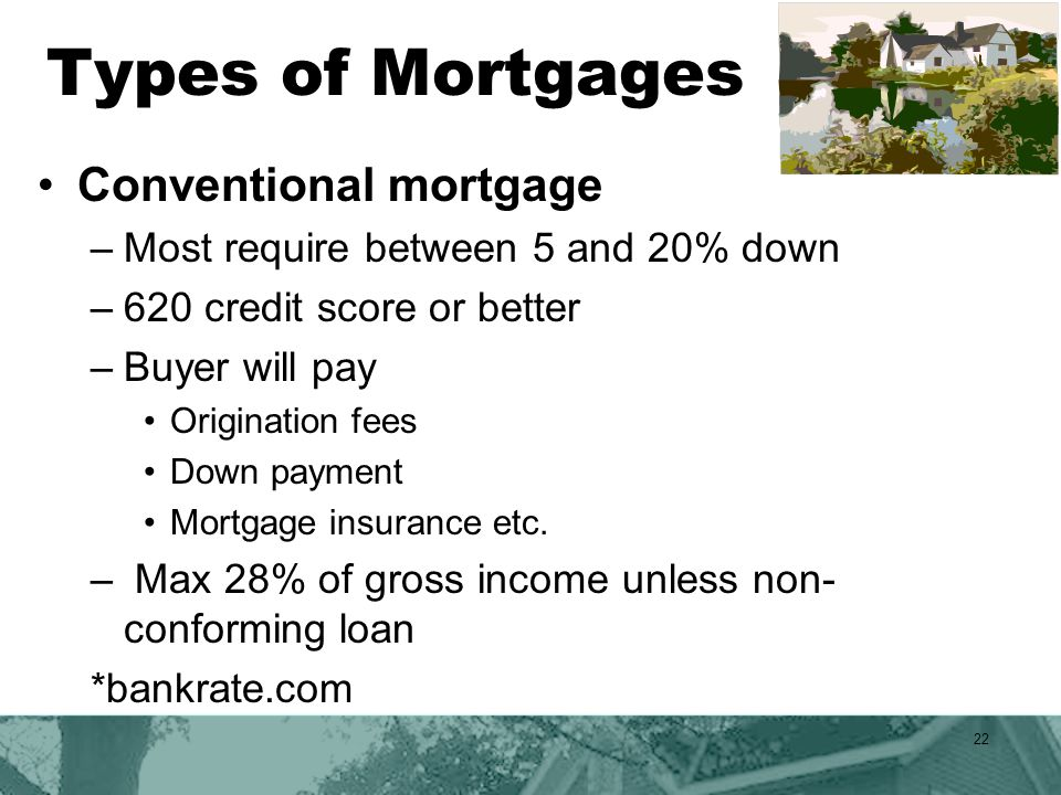 Types of Mortgages Conventional mortgage –Most require between 5 and 20% down –620 credit score or better –Buyer will pay Origination fees Down payment Mortgage insurance etc.