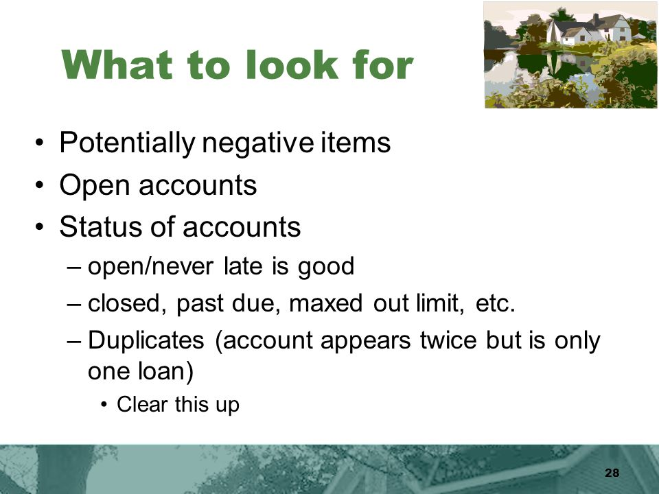 28 What to look for Potentially negative items Open accounts Status of accounts –open/never late is good –closed, past due, maxed out limit, etc.