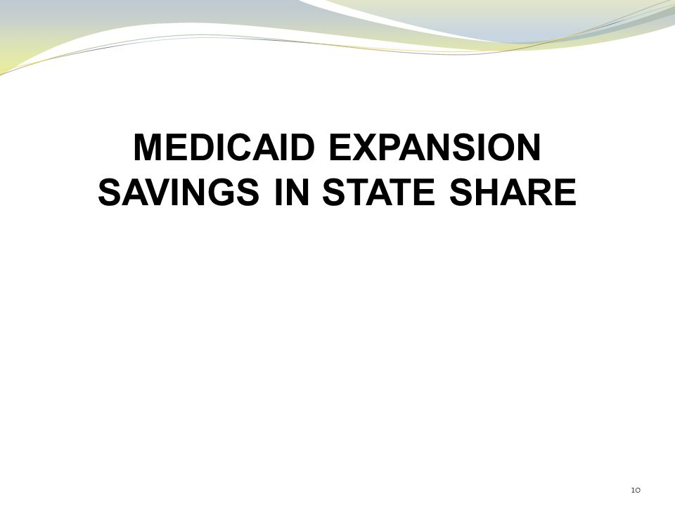 MEDICAID EXPANSION SAVINGS IN STATE SHARE 10