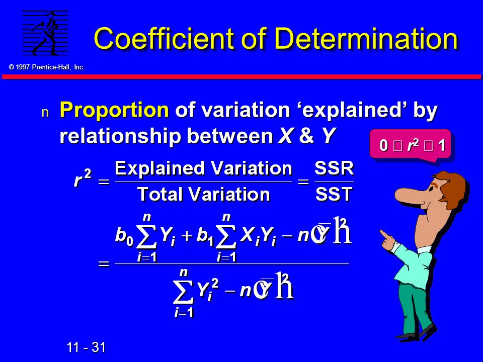11 - 31 © 1997 Prentice-Hall, Inc. n Proportion of variation 'explained' by relationship between X & Y Coefficient of Determination 0  r 2  1