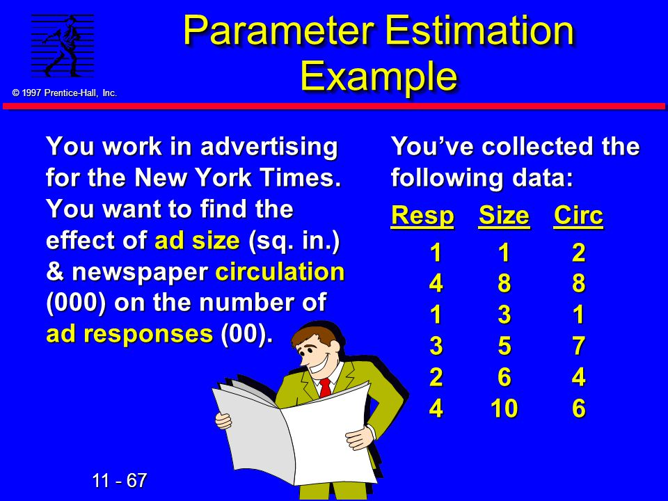 11 - 67 © 1997 Prentice-Hall, Inc. Parameter Estimation Example You work in advertising for the New York Times. You want to find the effect of ad size