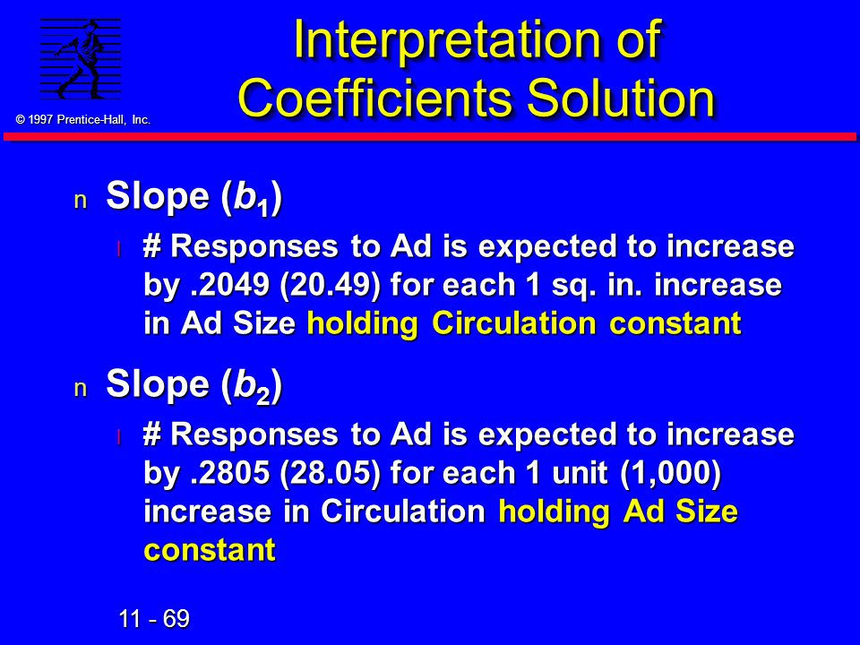 11 - 69 © 1997 Prentice-Hall, Inc. Interpretation of Coefficients Solution n Slope (b 1 ) l # Responses to Ad is expected to increase by.2049 (20.49)