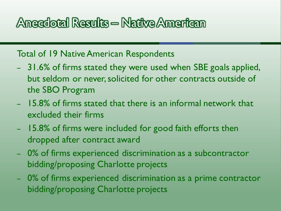 Total of 19 Native American Respondents – 31.6% of firms stated they were used when SBE goals applied, but seldom or never, solicited for other contracts outside of the SBO Program – 15.8% of firms stated that there is an informal network that excluded their firms – 15.8% of firms were included for good faith efforts then dropped after contract award – 0% of firms experienced discrimination as a subcontractor bidding/proposing Charlotte projects – 0% of firms experienced discrimination as a prime contractor bidding/proposing Charlotte projects