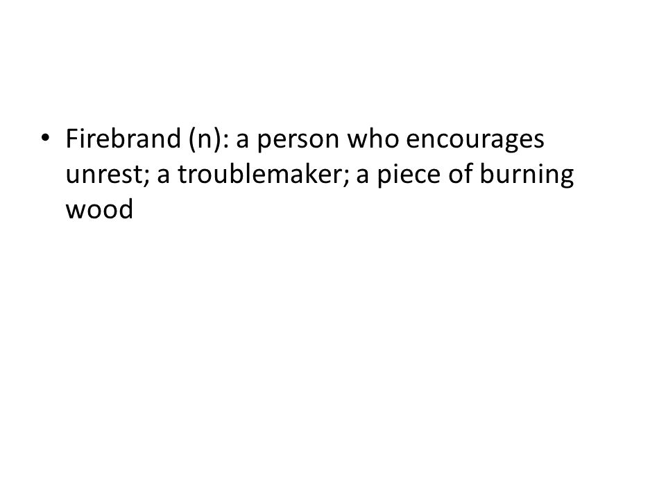 Firebrand (n): a person who encourages unrest; a troublemaker; a piece of burning wood