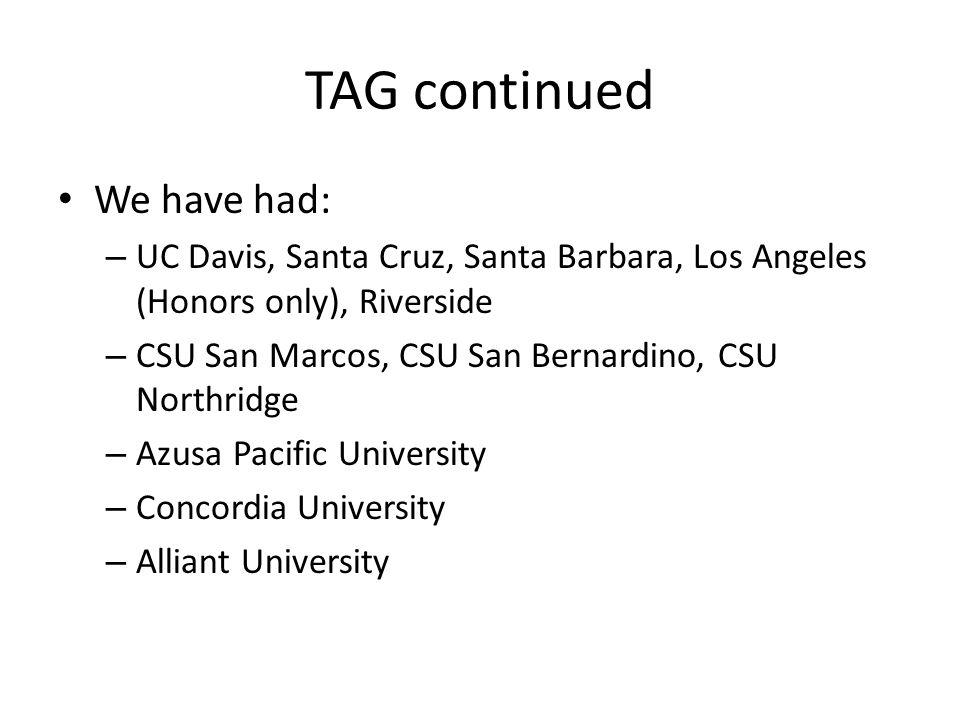 TAG continued We have had: – UC Davis, Santa Cruz, Santa Barbara, Los Angeles (Honors only), Riverside – CSU San Marcos, CSU San Bernardino, CSU Northridge – Azusa Pacific University – Concordia University – Alliant University
