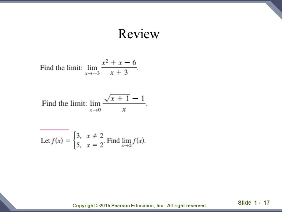 Slide 1 - 17 Copyright ©2015 Pearson Education, Inc. All right reserved. Review