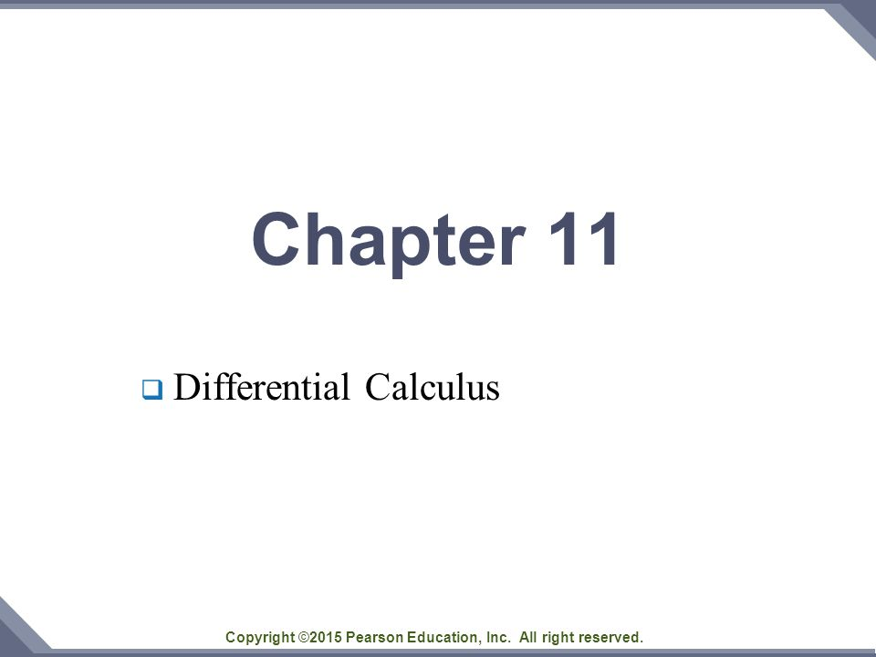 Chapter 11  Differential Calculus