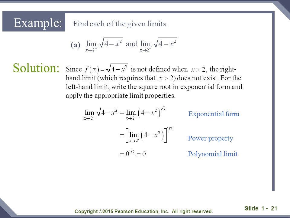 Slide 1 - 21 Find each of the given limits. Solution: Copyright ©2015 Pearson Education, Inc. All right reserved. Example: (a) Since is not defined wh