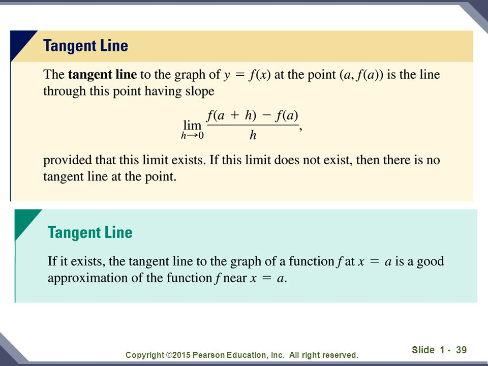 Slide 1 - 40 According to the definition, the slope of the tangent line is Solution: Copyright ©2015 Pearson Education, Inc.