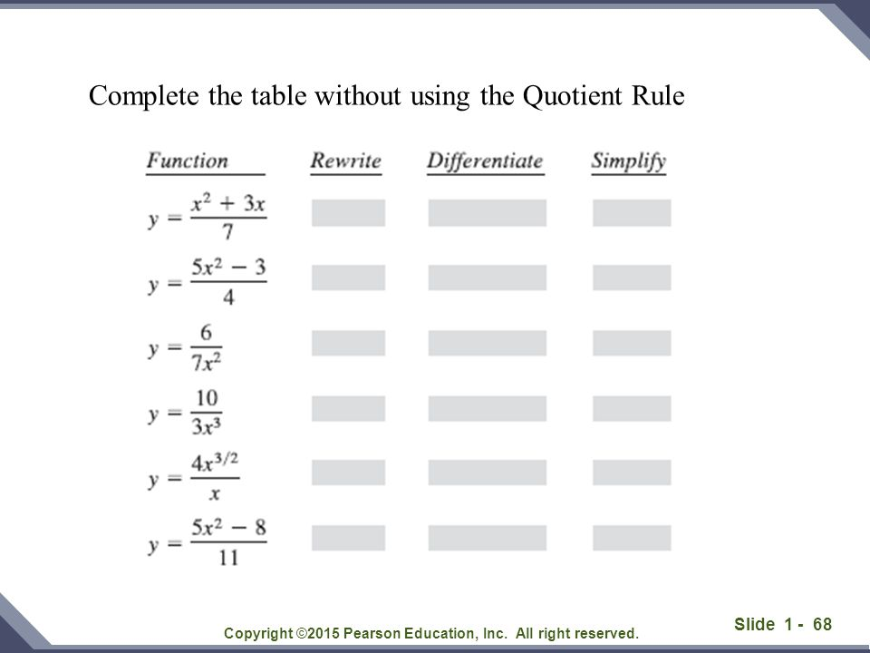 Slide 1 - 68 Copyright ©2015 Pearson Education, Inc. All right reserved. Complete the table without using the Quotient Rule