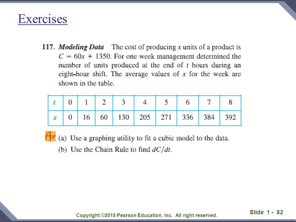 Slide 1 - 83 Exercises: find derivative of functions below.