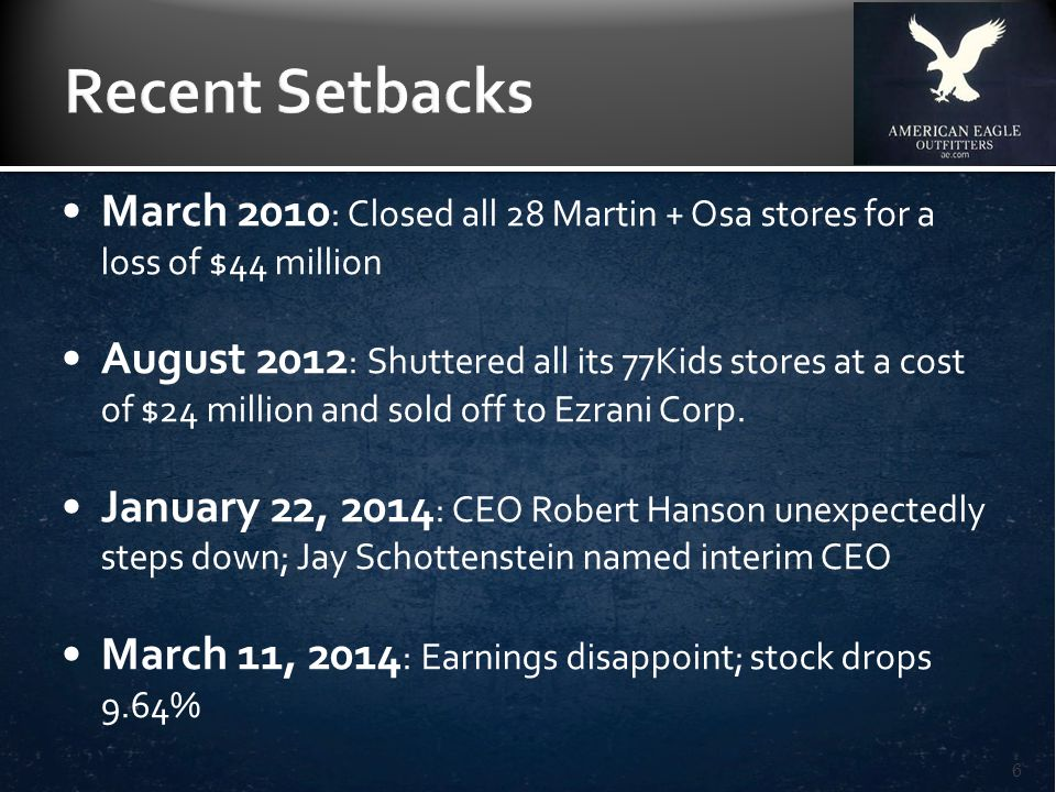March 2010 : Closed all 28 Martin + Osa stores for a loss of $44 million August 2012 : Shuttered all its 77Kids stores at a cost of $24 million and sold off to Ezrani Corp.