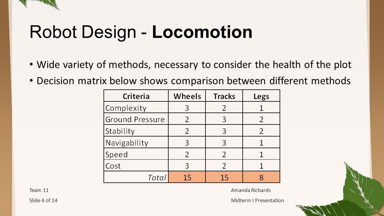 Robot Design - Locomotion Wide variety of methods, necessary to consider the health of the plot Decision matrix below shows comparison between different methods Team 11Amanda Richards Slide 4 of 14Midterm I Presentation