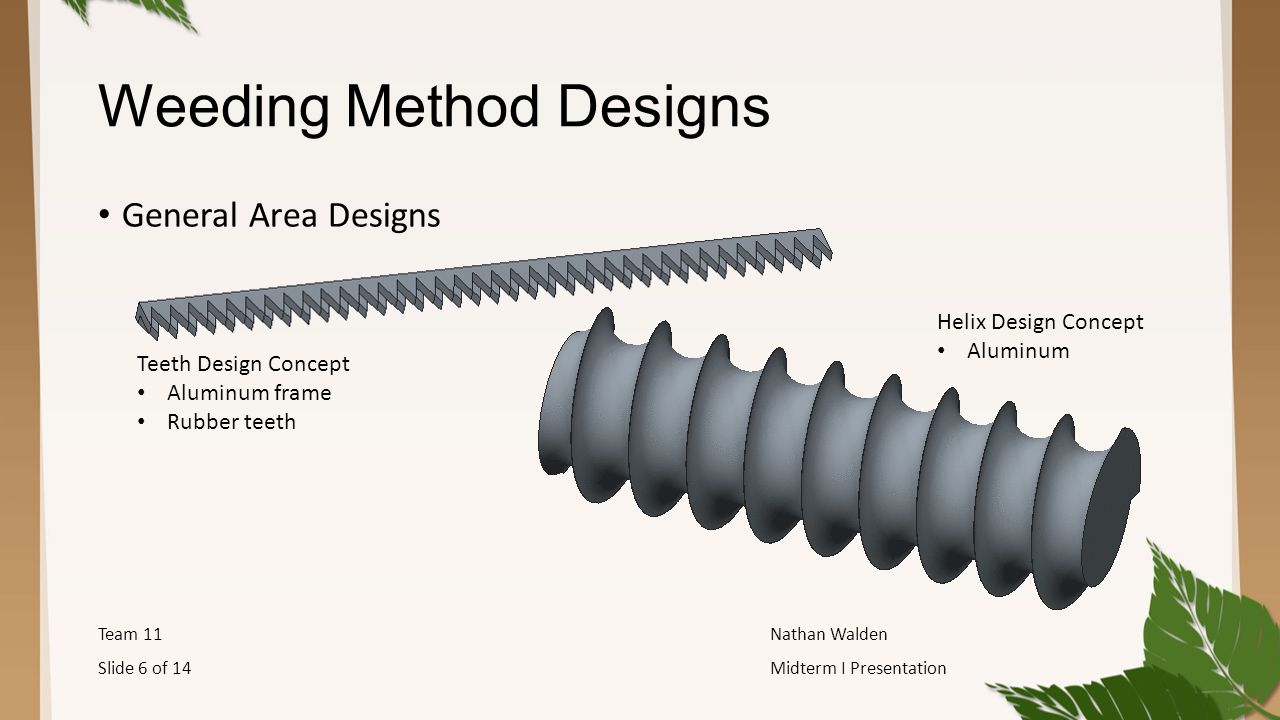 Weeding Method Designs General Area Designs Team 11Nathan Walden Slide 6 of 14Midterm I Presentation Teeth Design Concept Aluminum frame Rubber teeth Helix Design Concept Aluminum