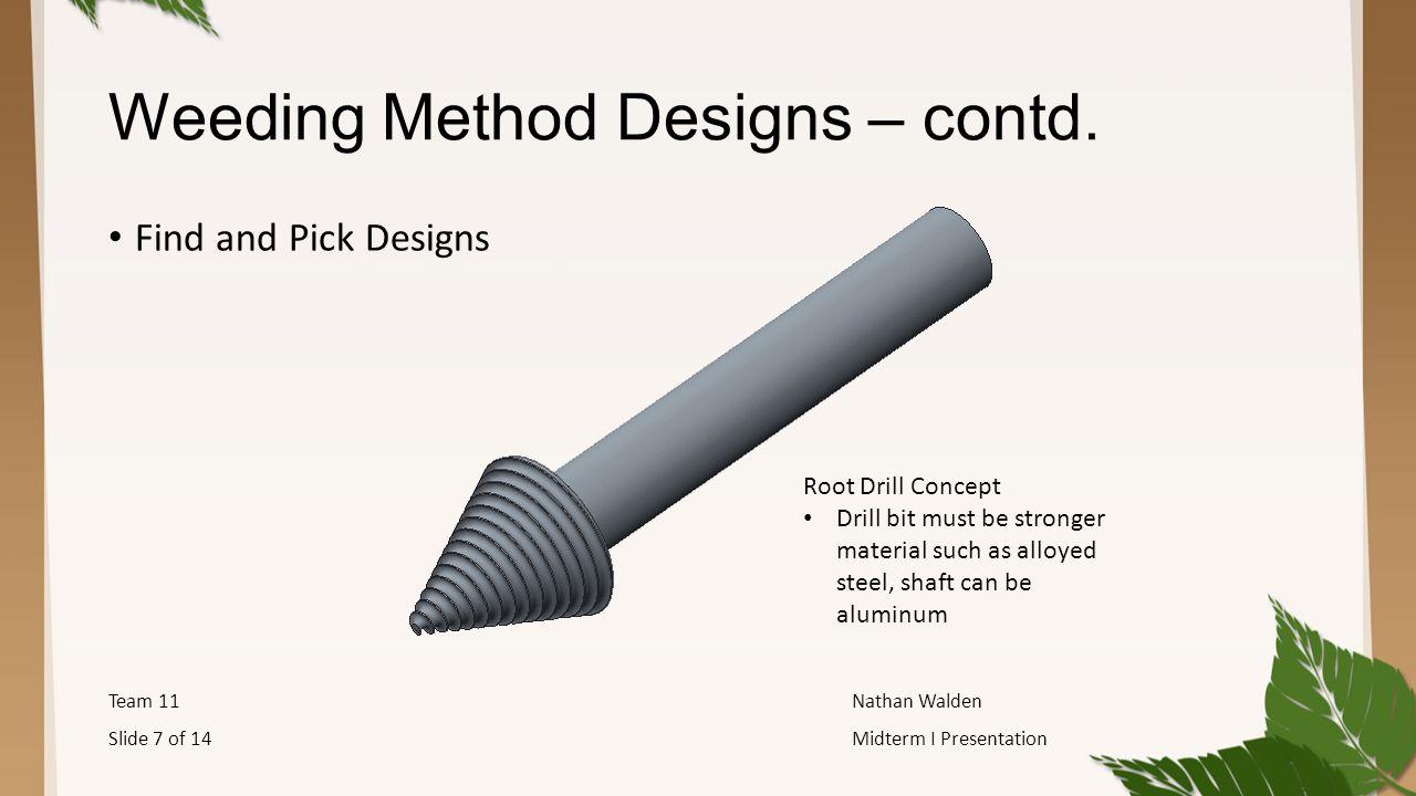 Weeding Method Designs – contd.