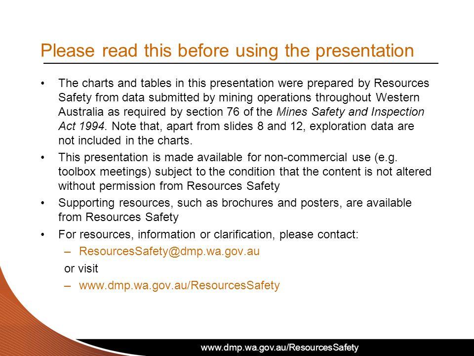 www.dmp.wa.gov.au/ResourcesSafety Toolbox presentation – Safety performance in the WA mineral industry 2010-11 www.dmp.wa.gov.au/ResourcesSafety