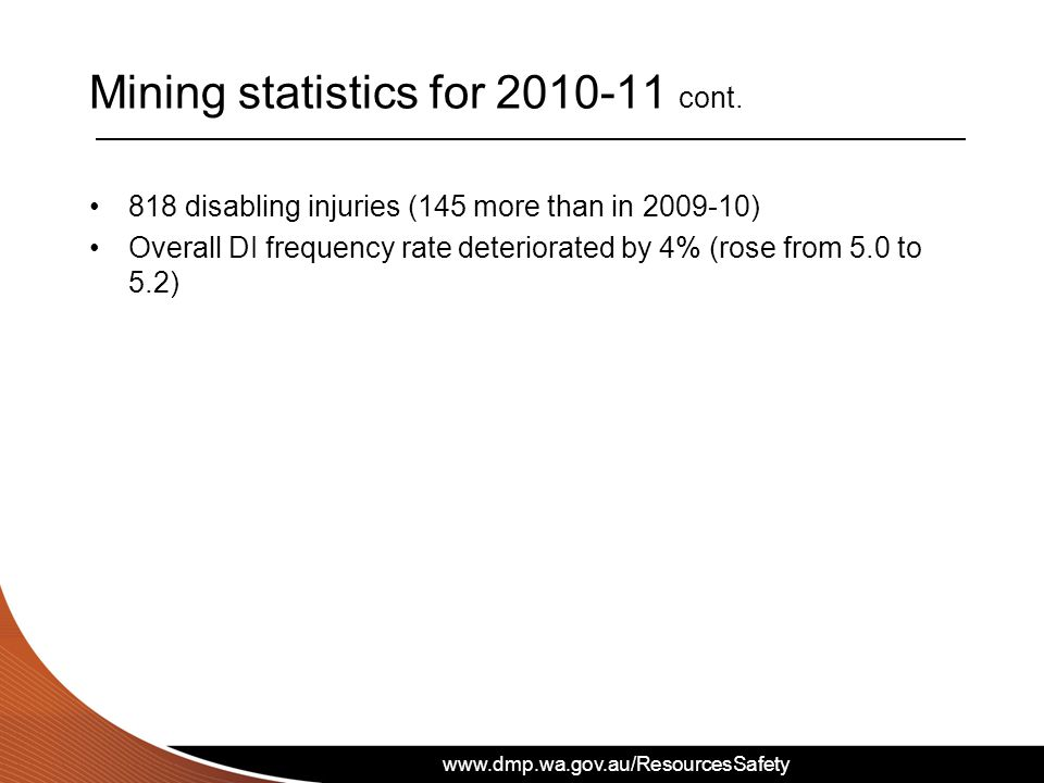 www.dmp.wa.gov.au/ResourcesSafety 818 disabling injuries (145 more than in 2009-10) Overall DI frequency rate deteriorated by 4% (rose from 5.0 to 5.2