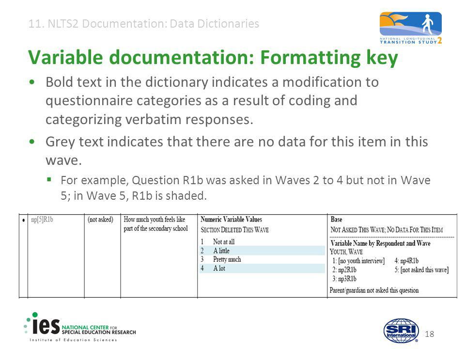 11. NLTS2 Documentation: Data Dictionaries 18 Variable documentation: Formatting key Bold text in the dictionary indicates a modification to questionn