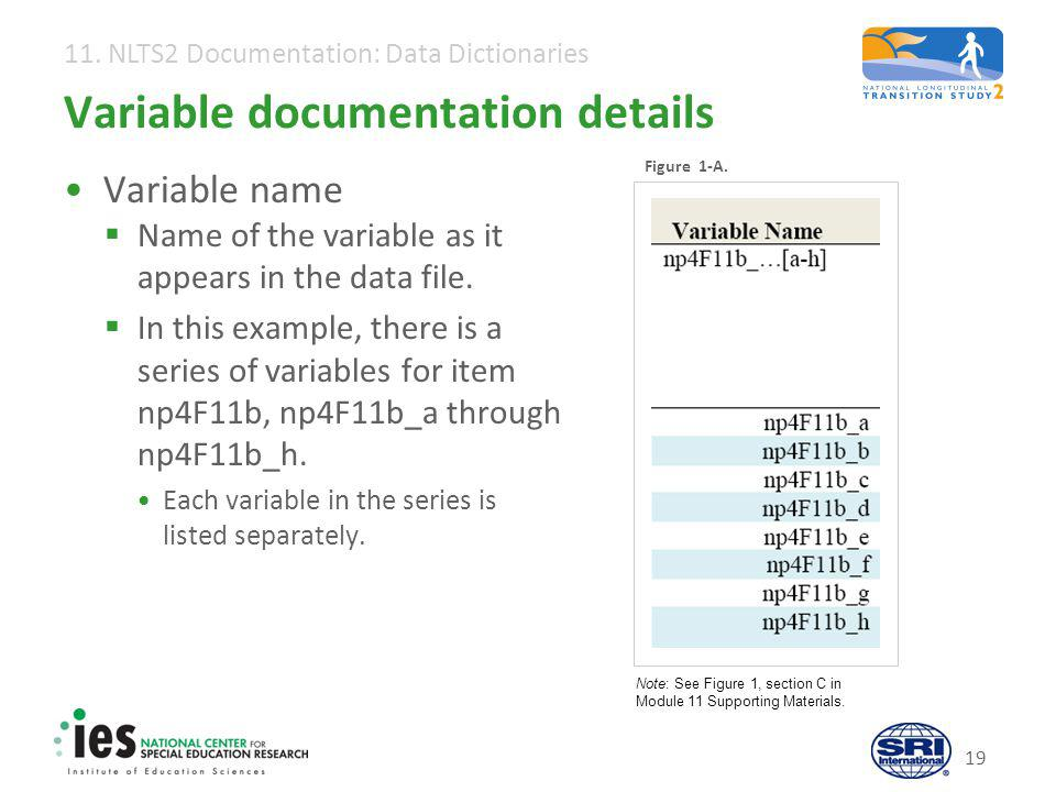 11. NLTS2 Documentation: Data Dictionaries 19 Variable documentation details Variable name  Name of the variable as it appears in the data file.  In
