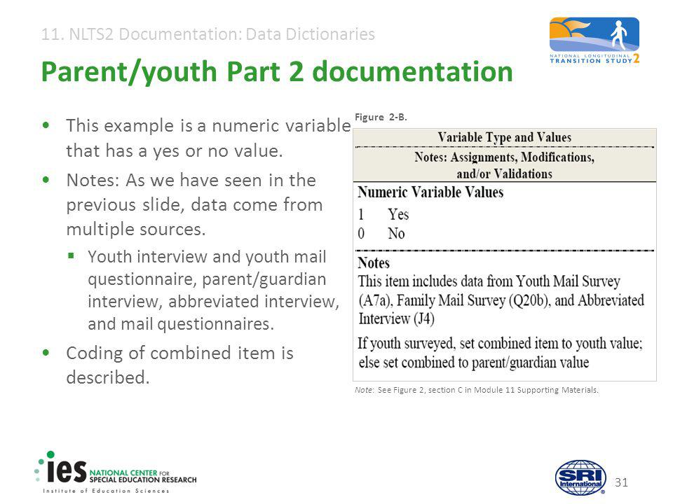11. NLTS2 Documentation: Data Dictionaries 31 Parent/youth Part 2 documentation This example is a numeric variable that has a yes or no value. Notes: