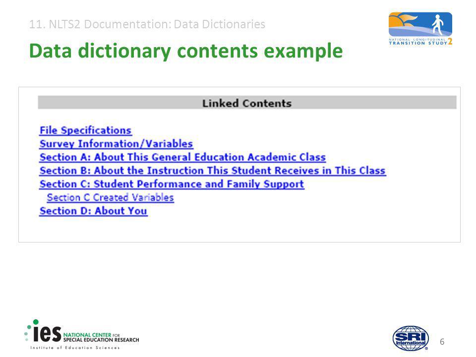 11. NLTS2 Documentation: Data Dictionaries 17 Variable documentation: Quick look