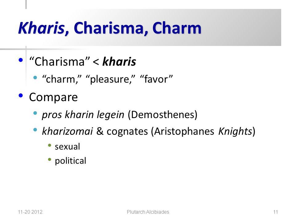 Kharis, Charisma, Charm Charisma < kharis charm, pleasure, favor Compare pros kharin legein (Demosthenes) kharizomai & cognates (Aristophanes Knights) sexual political 11-20 2012 Plutarch Alcibiades 11