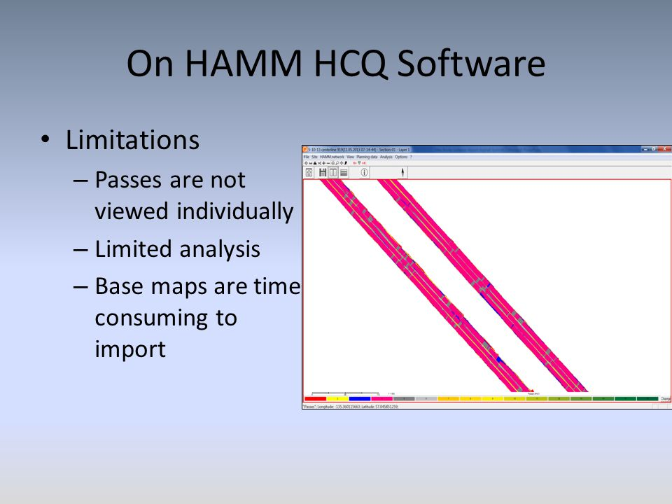 On HAMM HCQ Software Limitations – Passes are not viewed individually – Limited analysis – Base maps are time consuming to import