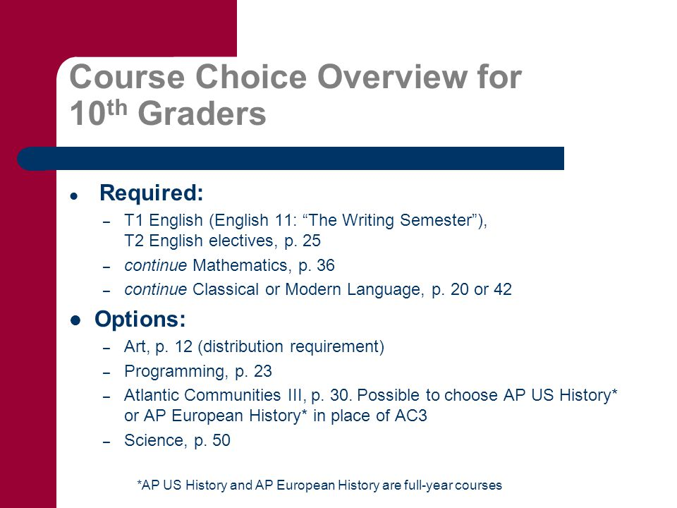Course Choice Overview for 10 th Graders Required: – T1 English (English 11: The Writing Semester ), T2 English electives, p.