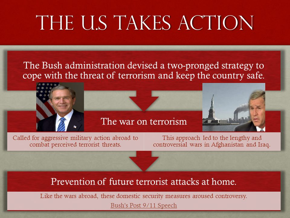 The U.S Takes Action Prevention of future terrorist attacks at home. Like the wars abroad, these domestic security measures aroused controversy. Bush'