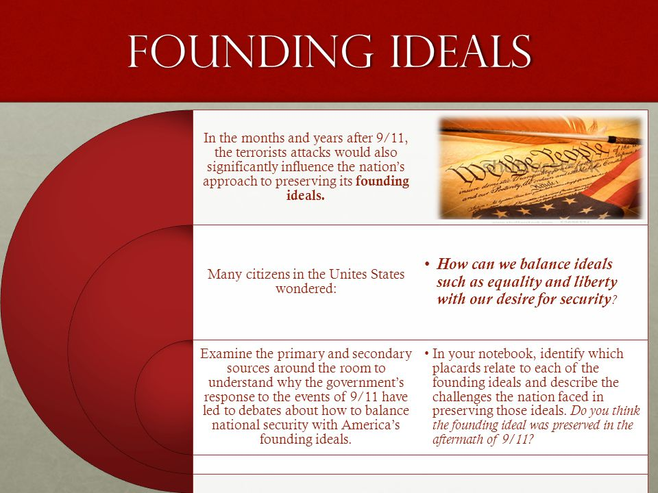 Founding Ideals In the months and years after 9/11, the terrorists attacks would also significantly influence the nation's approach to preserving its founding ideals.