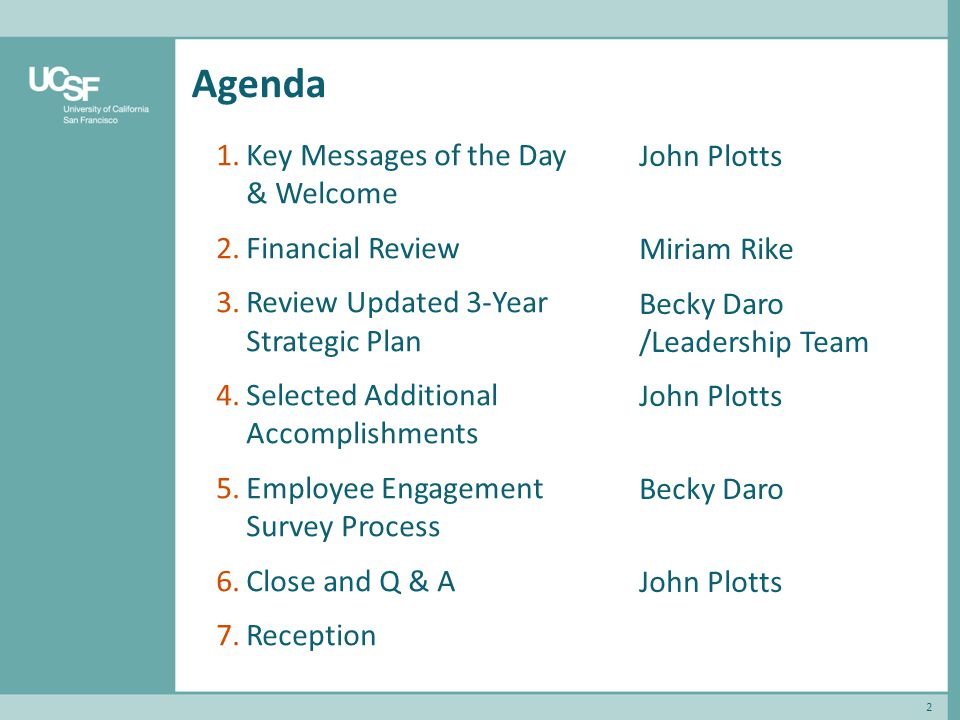 Agenda 2 1.Key Messages of the Day & Welcome 2.Financial Review 3.Review Updated 3-Year Strategic Plan 4.Selected Additional Accomplishments 5.Employee Engagement Survey Process 6.Close and Q & A 7.Reception John Plotts Miriam Rike Becky Daro /Leadership Team John Plotts Becky Daro John Plotts