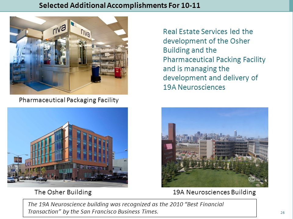 Selected Additional Accomplishments For 10-11 The Osher Building19A Neurosciences Building Pharmaceutical Packaging Facility Real Estate Services led the development of the Osher Building and the Pharmaceutical Packing Facility and is managing the development and delivery of 19A Neurosciences The 19A Neuroscience building was recognized as the 2010 Best Financial Transaction by the San Francisco Business Times.