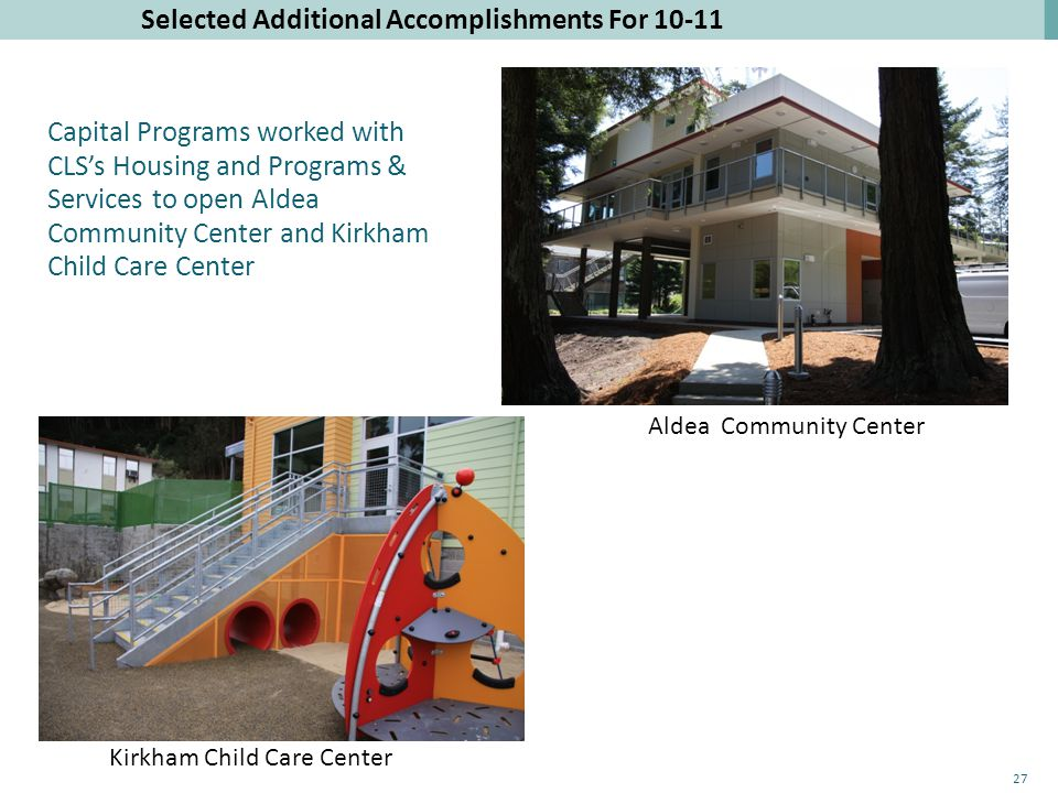 Selected Additional Accomplishments For 10-11 Kirkham Child Care Center Aldea Community Center Capital Programs worked with CLS's Housing and Programs & Services to open Aldea Community Center and Kirkham Child Care Center 27