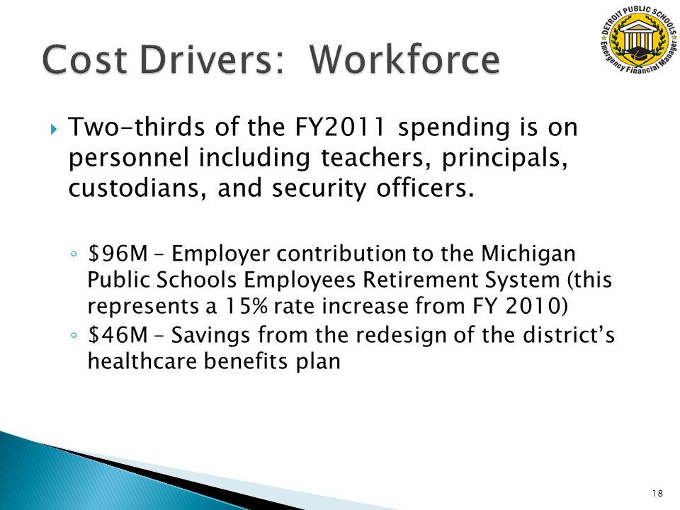  Two-thirds of the FY2011 spending is on personnel including teachers, principals, custodians, and security officers.