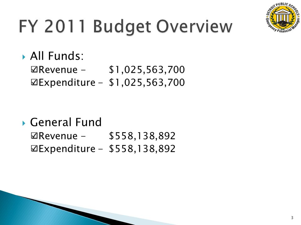  All Funds: Revenue - $1,025,563,700 Expenditure -$1,025,563,700  General Fund Revenue - $558,138,892 Expenditure - $558,138,892 3