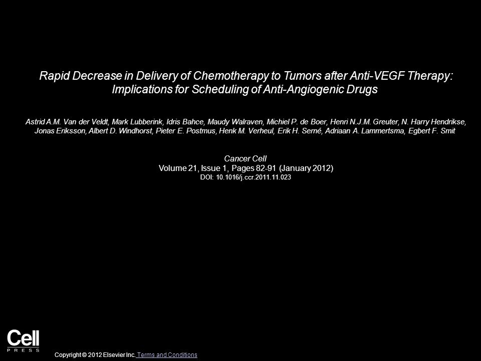Rapid Decrease in Delivery of Chemotherapy to Tumors after Anti-VEGF Therapy: Implications for Scheduling of Anti-Angiogenic Drugs Astrid A.M.