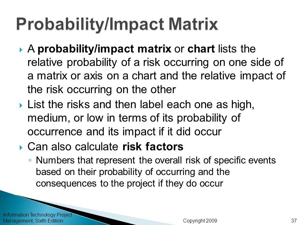 Copyright 2009  A probability/impact matrix or chart lists the relative probability of a risk occurring on one side of a matrix or axis on a chart and the relative impact of the risk occurring on the other  List the risks and then label each one as high, medium, or low in terms of its probability of occurrence and its impact if it did occur  Can also calculate risk factors ◦ Numbers that represent the overall risk of specific events based on their probability of occurring and the consequences to the project if they do occur Information Technology Project Management, Sixth Edition37