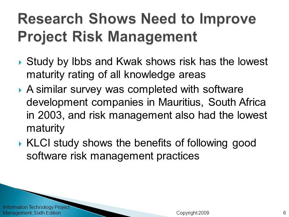Copyright 2009  Study by Ibbs and Kwak shows risk has the lowest maturity rating of all knowledge areas  A similar survey was completed with software development companies in Mauritius, South Africa in 2003, and risk management also had the lowest maturity  KLCI study shows the benefits of following good software risk management practices Information Technology Project Management, Sixth Edition6